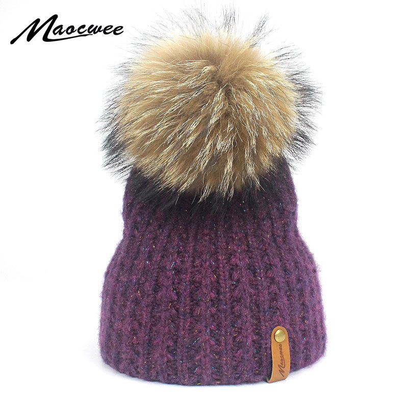 ec797fe017a Aliexpress.com   Buy Women Real Fur Pom Pom Hat Female Winter Wool Autumn  Knitted Beanies Fur Ball Cap Ladies Cashmere Natural Raccoon Fur Pompom Hat  from ...