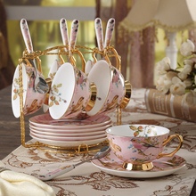 High-quality European bone china coffee cup set creative ceramic gold bird pattern afternoon tea with spoon cups