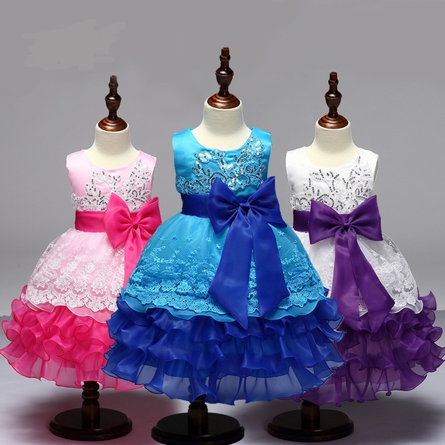 L7789 Wholesale 2017 sales in Europe and America Girls Princess Dress Sequin embroidery dress Bow multi Tutu Flower Girl Dress