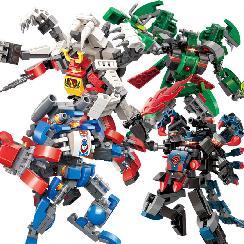 4pc lot 741pcs Children s building blocks toy Compatible city Eudemons Battle Armor Deformation Robot King