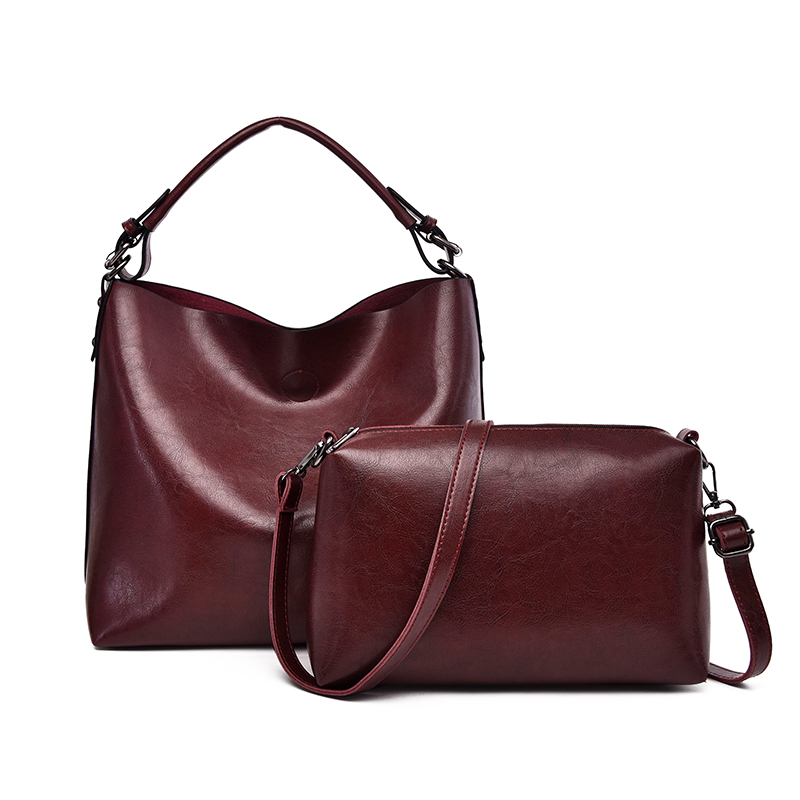 2Pcs/Set Bucket Bag Women Leather Shoulder Bag Women Purses And Handbags Luxury Female Tote Crossbody Bags Big Sac