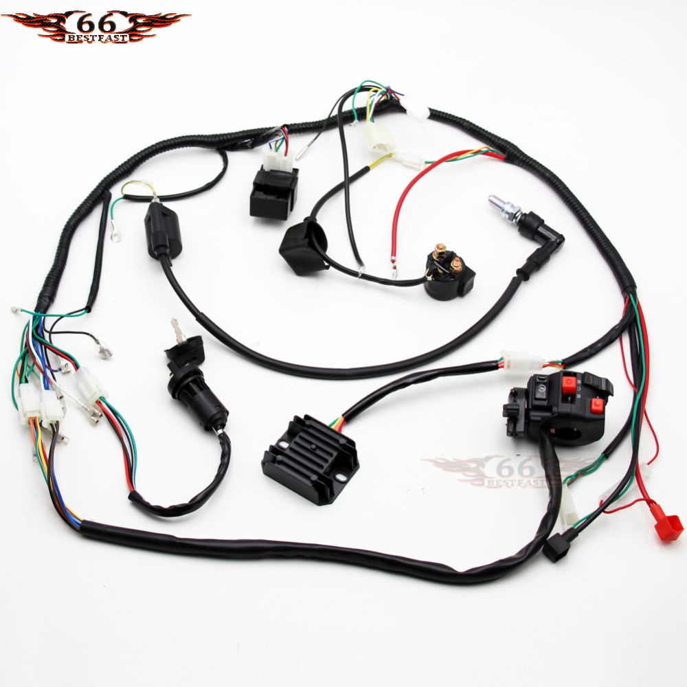 electric wiring harness wire loom cdi coil spark plug assembly for atv quad buggy go kart [ 1000 x 1000 Pixel ]