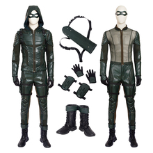 Green Arrow Season 5 Oliver Queen Cosplay Costume for Man Pu Leather Hoodie Jacket Halloween Party Costume Full Set