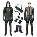 Green Arrow Season 5 Oliver Queen Cosplay Costume for Man and Women Leather Hoodie Jacket Halloween Party Costume Full Set