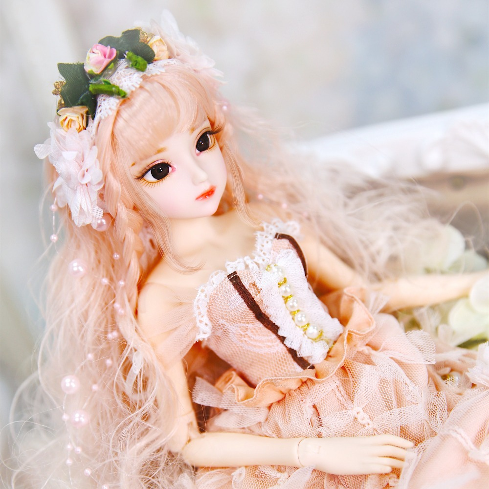 1 4 BJD doll Dairy Queen name by Claire coral hair mechanical joint Body clothes shoes