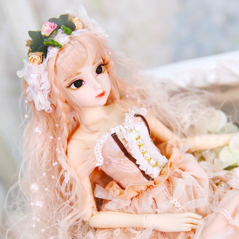 1/4 ตุ๊กตา BJD ตุ๊กตานม Queen ชื่อโดย Claire coral ผม mechanical joint Body เสื้อผ้ารองเท้า,45 ซม.-ใน ตุ๊กตา จาก ของเล่นและงานอดิเรก บน   1