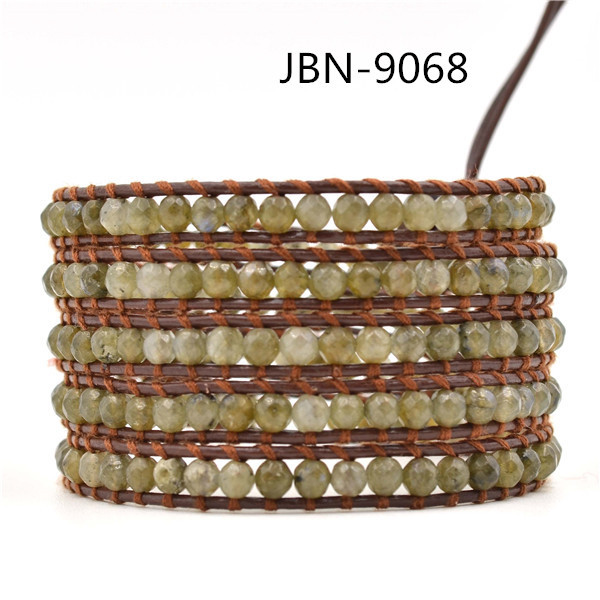 new 2016 leather woven charming natural beaded style bracelet infinity bracelets bangles for mens jewelry JBN-9068
