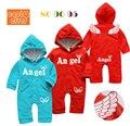 Mameluco del bebé recién nacido para las niñas y los niños del ala del ángel de algodón mono infantil kleding jurkjes bebés trajes ropa envío gratis