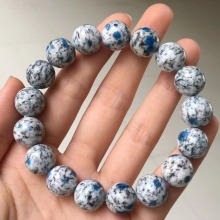 12mm Natural K2 Jasper Volcanic Bracelet For Woman Men Round Beads AAAAA Blue Big Stretch Stone Luxury