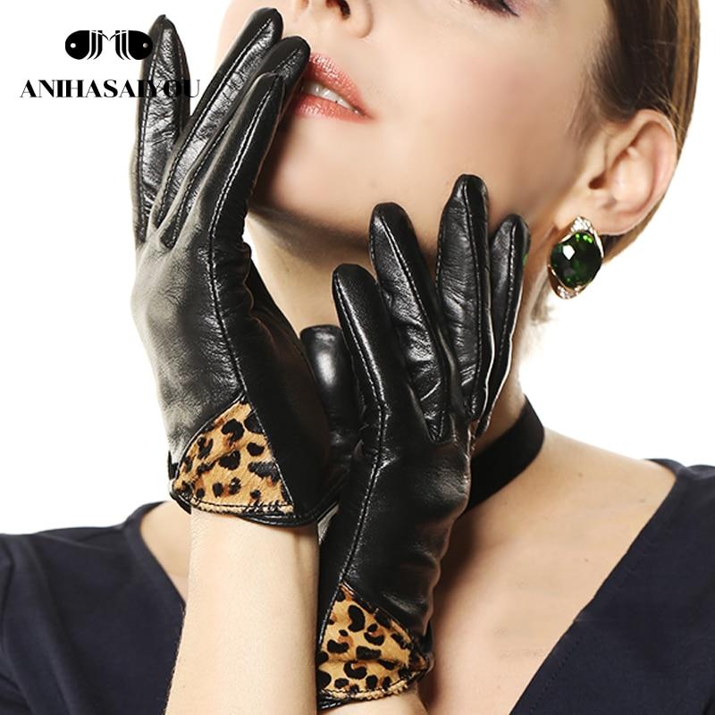 Women genuine leather gloves winter warm fashion leopard bow short sheepskin woman leather gloves genuine leather- L100