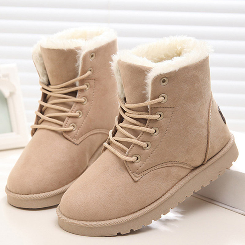 Women Snow Boots Winter Warm Shoes Ladies Flat Ankle Boots Lace Up Fur Plush Suede Comfort Female Fashion Plus Size Footwear shoes women flat winter ankle autumn snow boots 2017 female lace up fur boots brand outdoor sport girl shoe size 35 41 page 6