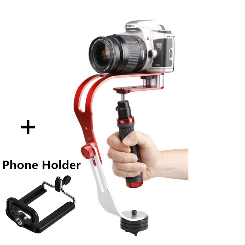 Alliage aluminium Mini caméra numérique de poche stabilisateur vidéo Steadicam Mobile 5DII mouvement DV stabilycam + Smartphone pince