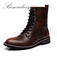 BIMUDUIYU New Arrival Fashion Handmade Super Warm AutumnWinter Men Shoes Casual British Style Ankle Boots Wipe color Snow Boots