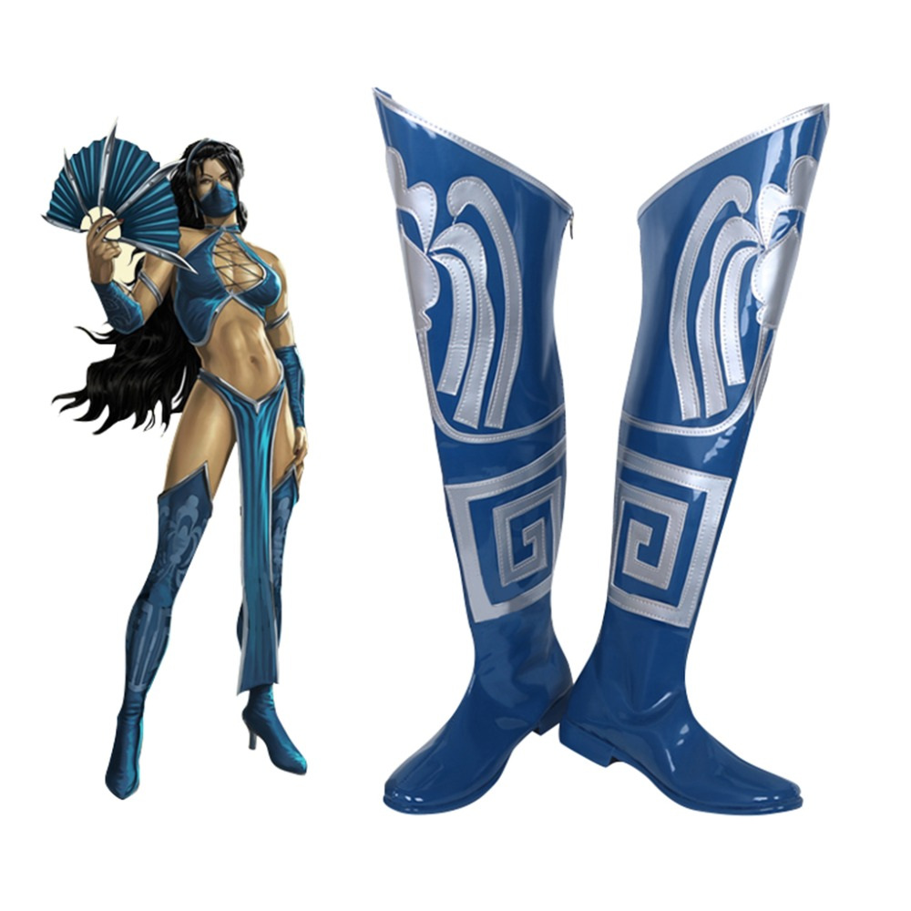 Mortal Kombat 9 Kitana Cosplay Shoes Boots Superhero Halloween Carnival Party Costume Accessories