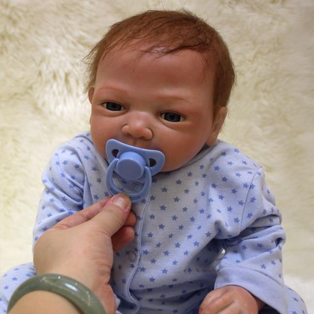 Boneca bebê bonito de 20 polegadas, 48 50cm, silicone macio, renascido de brinquedo menino ou menina, boneca para presente roupas azuis
