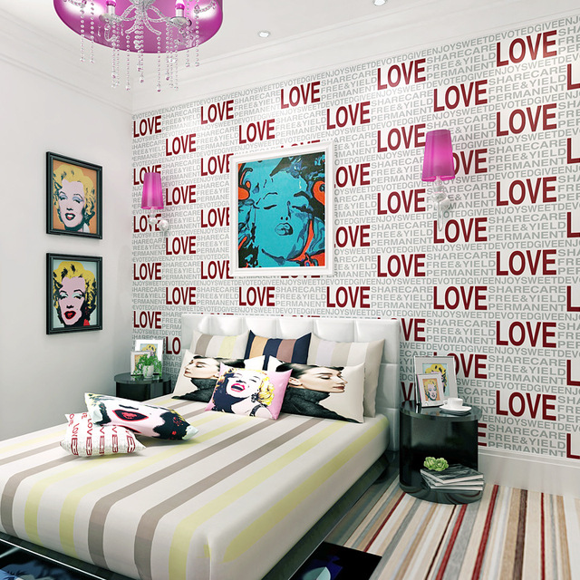 LOVE Letter 3D Stereoscopic Look Non Woven Wallpapers Roll For Living Bedding Room Wall Paper