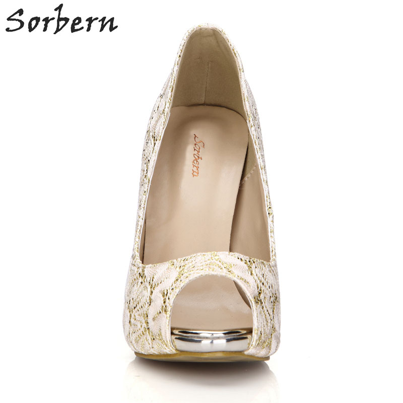 3bc11e55b46 Sorbern Gold Lace Wedding Shoes Peep Toe Pumps High Heels Stilettos Custom  Red Bottom Heels For. sku  32855114857