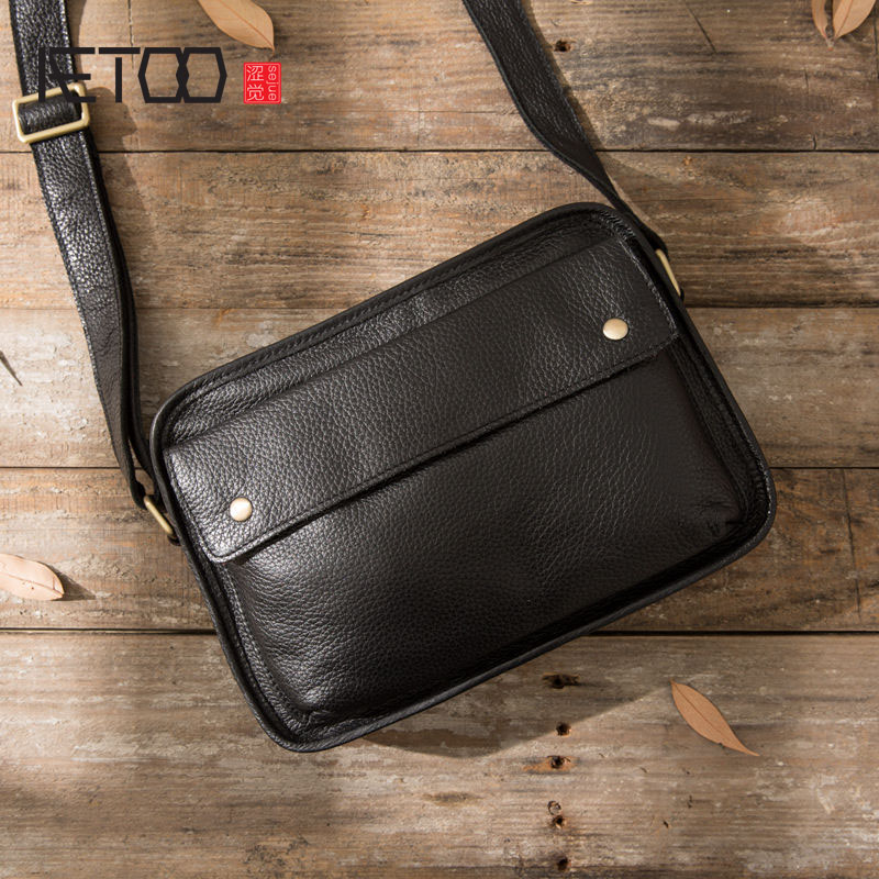 AETOO Original hand Yoshida package leather men's first layer of leather shoulder bag men's Messenger bag Japan and South Korea qiaobao 2018 new korean version of the first layer of women s leather packet messenger bag female shoulder diagonal cross bag