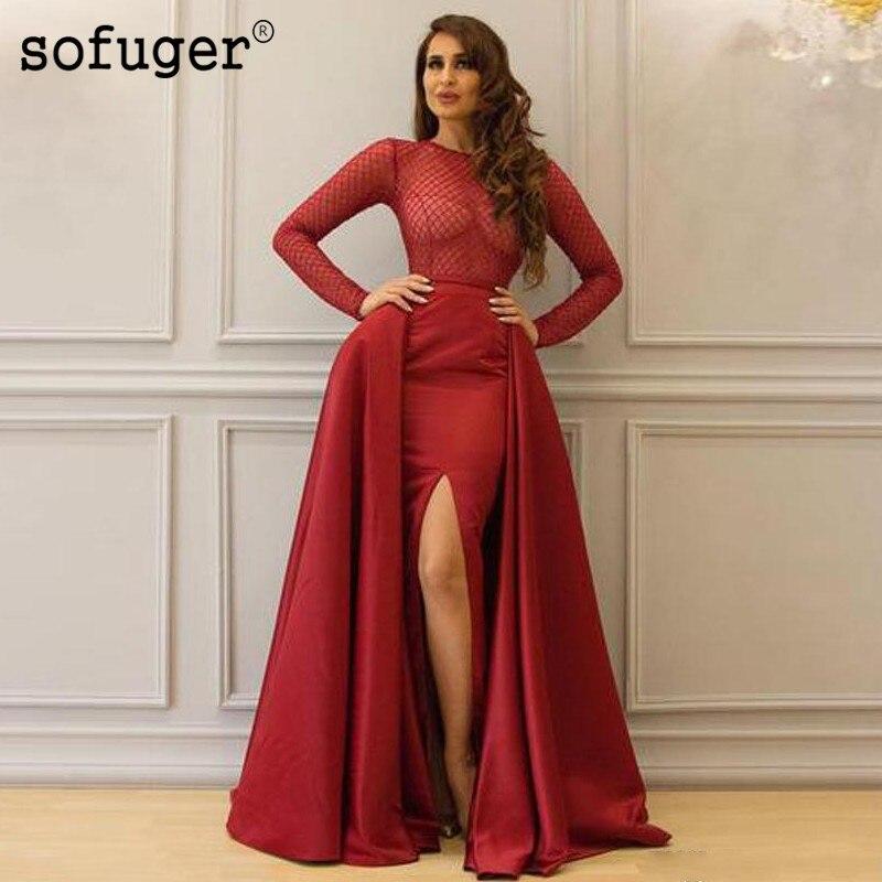 Burgundy Muslim Illusion   Evening     Dresses   Slit Cape Straight Long Sleeves Satin Islamic Dubai Saudi Arabic Long Prom   Evening   Gown