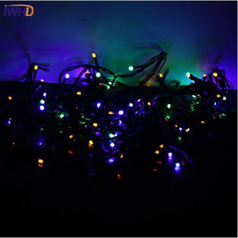 IWHD 10 м светодиодный наружный Рождественский фонарь 220 В, сказочные огни, рождественские украшения, Свадебная вечеринка, день рождения, светодиодный светильник Luces De Navidad - Испускаемый цвет: RGB
