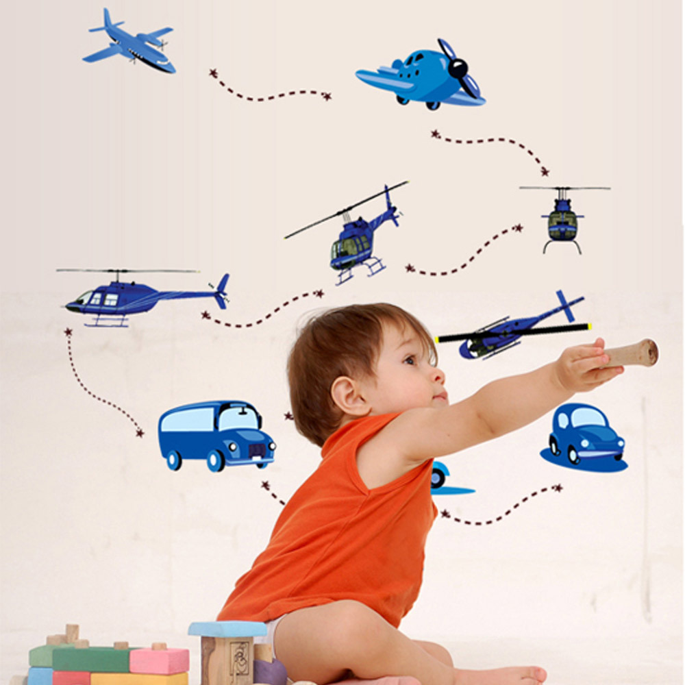 Cartoon Airplane Car Bus Wall Sticker Kids Room Nursery DIY Wall Sticker Removable Waterproof Decals