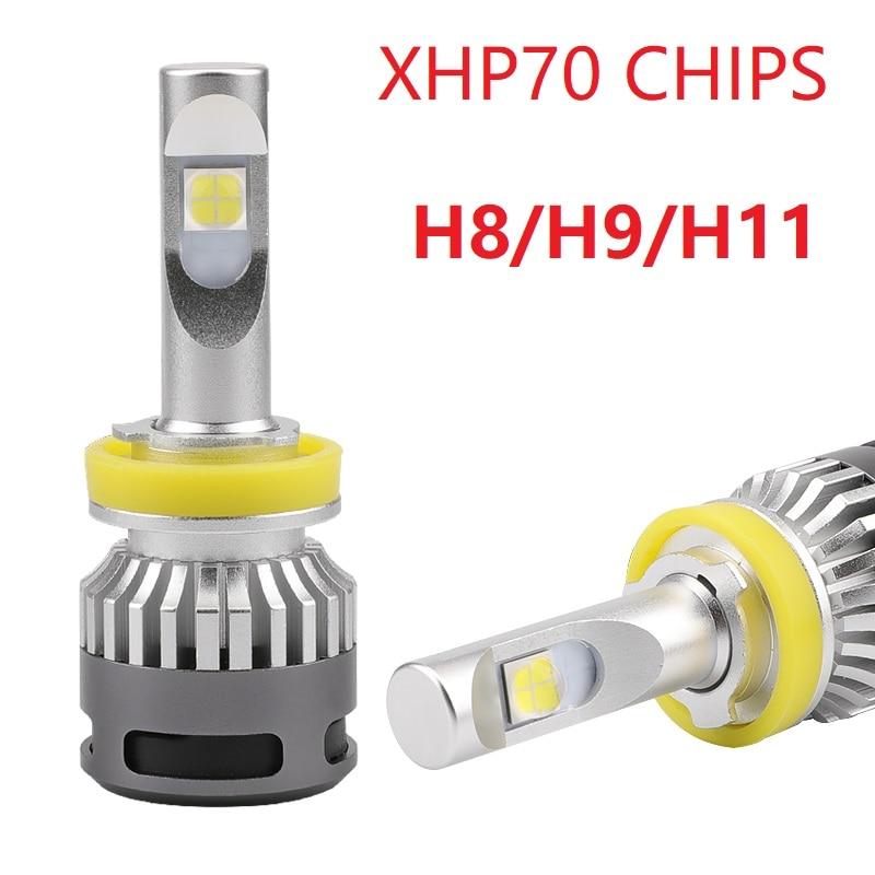 1Set Car mini led H8 H9 H11 13200lm Headlight 6000K Bulbs Kit HB3 9005 9006 HB4 H4 9012 H7 XHP70 led 110W turbo headlamp toyikie car fanless led headlight kit for cree chips xhp70 led 6000k replacement 55w 6600lm bulb h4 h7 h8 h9 h11 9005 9006 9012
