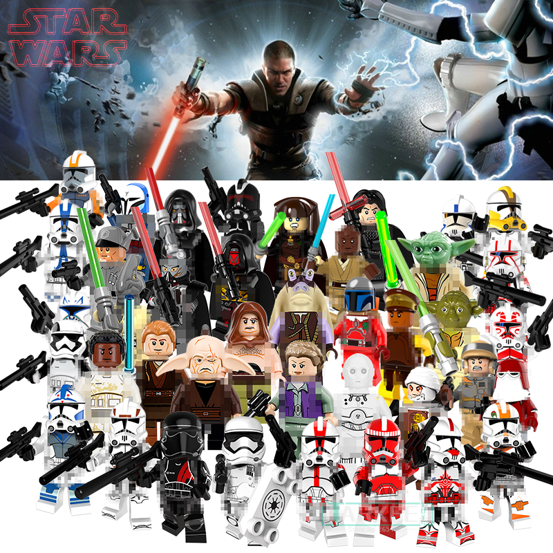 Single Star Wars Buildable Blocks Yoda Santa Jango Fett Clone Trooper Military Stormtrooper Elite Praetorian Guard Building Toys светильник светодиодный 3dlightfx star wars yoda face 3d