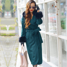 Nice New Fashion European Style High Quality women's Winter Woolen Overcoat Fur Collar Slim Hip Warm Long Coats Plus Size S2615
