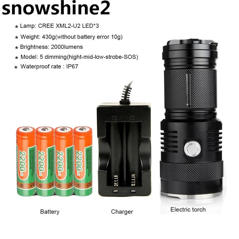 snowshine2#4001M6 Bright 2000 Lumens Rechargeable Flashlight 300 Meters Long Lighting Using 3*2017 U2 LEDS Wick Torch Flashl dd