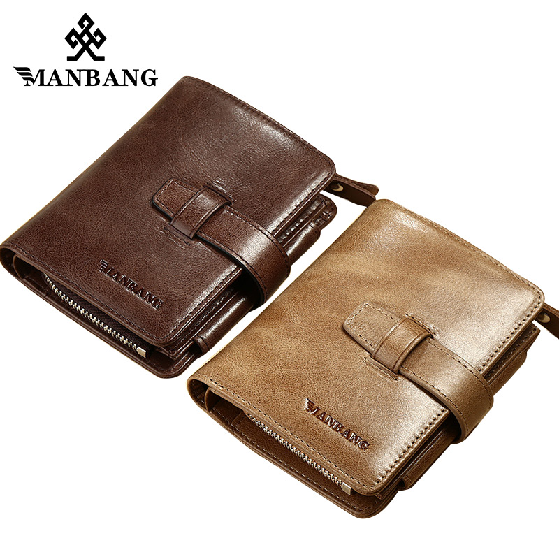 ManBang Genuine Leather Men Wallets Coin Purse Vintage Wallet Cowhide Leather Credit Card Holder Pocket Purse Free Shipping