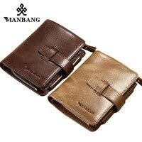 ManBang Genuine Leather Men Wallets Coin Purse Vintage Wallet Cowhide Leather Credit Card Holder Pocket Purse