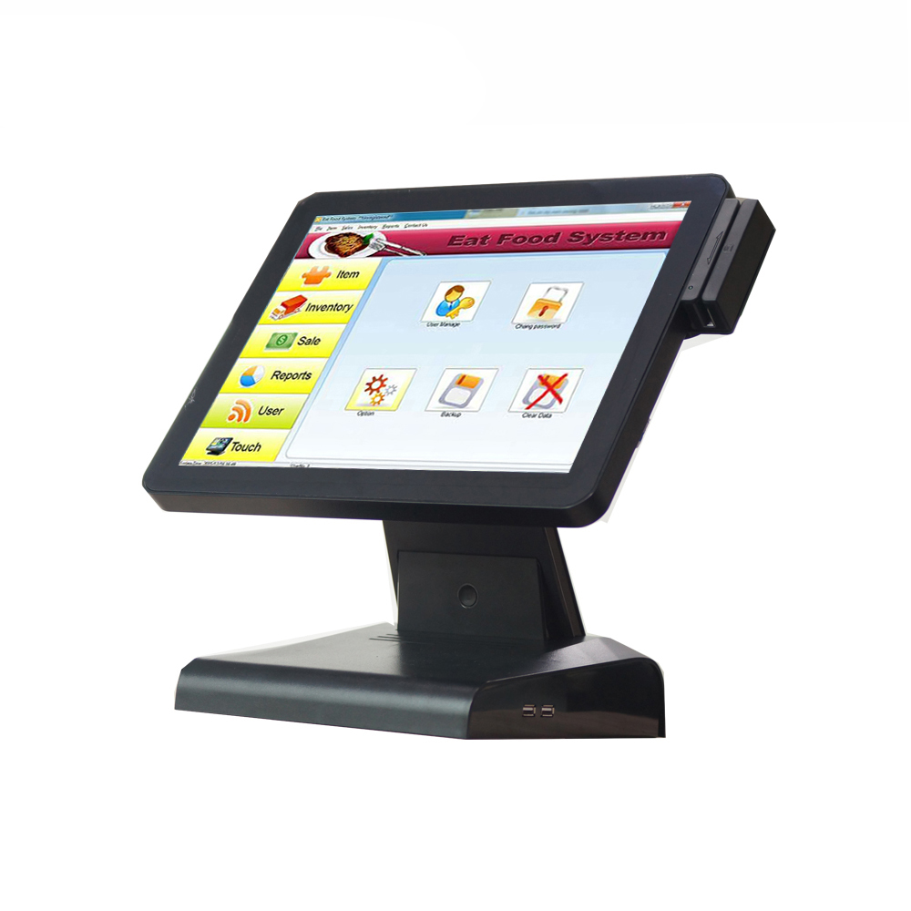 1619BCompos 15 Inch Black Touch Screen Display Mall Hotel Cash Register 320G Hard Disk Scanner Set
