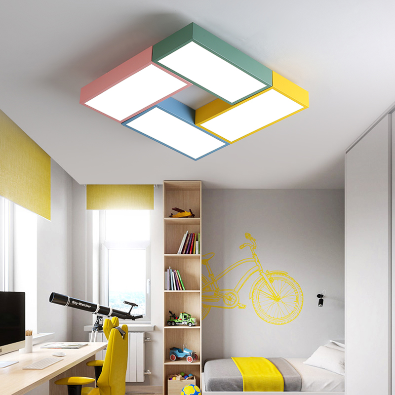 DX Modern Led Ceiling Lights Luminaire Children Kids Room Creative Color Remote Control Lamp Toy Brick Fixture Dimmable Lustre  DX Modern Led Ceiling Lights Luminaire Children Kids Room Creative Color Remote Control Lamp Toy Brick Fixture Dimmable Lustre