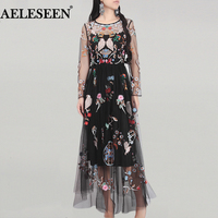Luxury Mesh Dresses Women Fashion Full Sleeve Spring High Quality 2018 Birds Newest Elegant Flower Runway