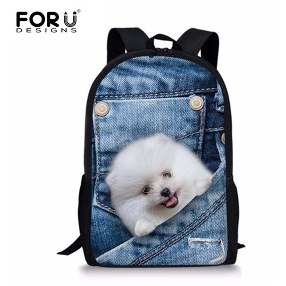 FORUDESIGNS 3D Demin Backpack Schoolbag Cute Dog Cat Emoji School Bags For Girls Boys Book Bag for Teenager New Classic Mochila 9 pcs set pigment liner pigma micron ink fine line pen set 0 05 0 1 0 2 0 3 0 4 0 5 0 6 0 8 brush black ink