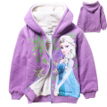 2016 Cartoon 4-10 yrs kids Winter fleece hoodies zipper sudaderas ninas olaf&anna&elsa clothes children girls hoodies sweatshirt