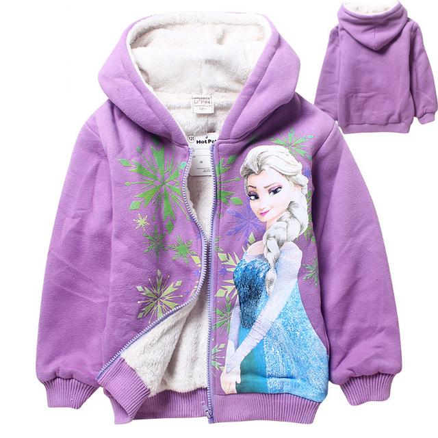 2016 Dos Desenhos Animados 4-10 anos crianças de Inverno do velo hoodies zipper sudaderas ninas olaf & anna & elsa roupas infantis meninas camisola hoodies