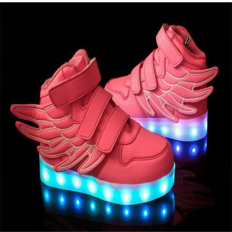 Vente bien NOUVEAUX enfants sneakers USB de charge enfants LED lumineux chaussures garçons filles de lumières clignotantes colorées sneakers