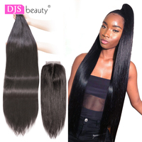 28 30 40 Inches Bundles Brazilian Straight Hair 3/4 Bundles With Closure Human Hair Weave Bundles Remy Hair Extensions