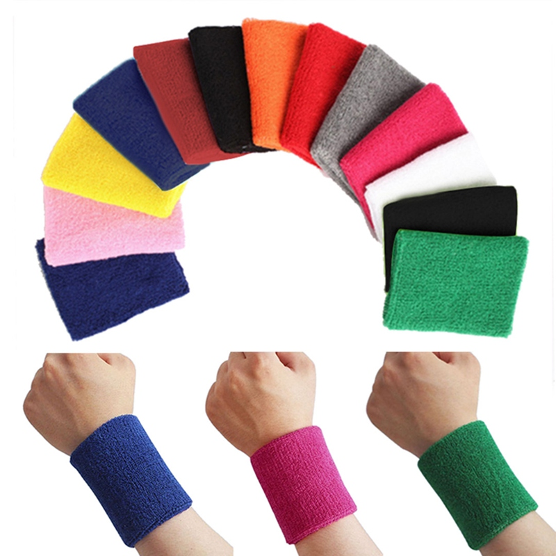 Ny bomull Unisex Sport Sweatband Armbånd Basketball Håndleddet Protector Running Badminton Basketball Brace Terry Cloth Sweat Band
