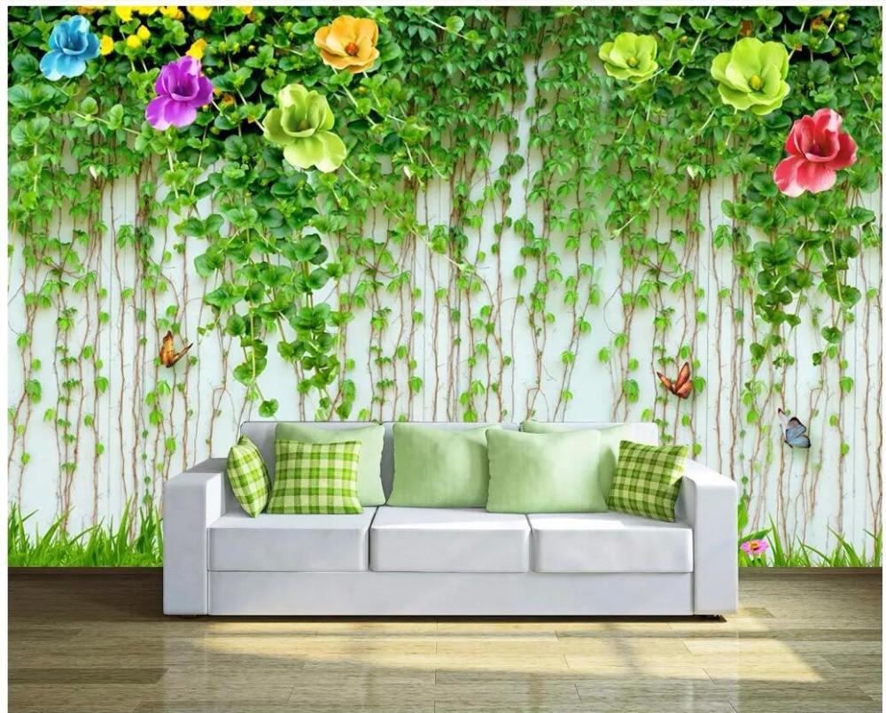 Custom Photo 3d Wall Paper For Living Room Hd Green Flower Vine Tv Background Home Decor 3d Wall Murals Wallpaper For Walls 3 D Wallpapers Aliexpress