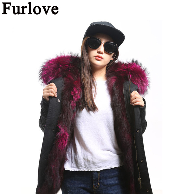 Furlove Winter Jacket Women  Army Green Parka Coats Real Large Raccoon Fur Collar Fox Fur Lining Hooded Outwear Free DHL UPS kohuijoos 3xl winter women army green large raccoon fur collar hooded coat warm detachable natural fox fur lining parka coats