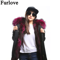 Furlove Winter Jacket Women Army Green Parka Coats Real Large Raccoon Fur Collar Fox Fur Lining Hooded Outwear Free DHL UPS