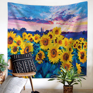 Image 2 - Painting Sunflower Sky Print Clouds Psychedelic Fatima Sun Wall Tapestry Beach Towels Dorm Farmhouse Decor Macrame Wall Hanging