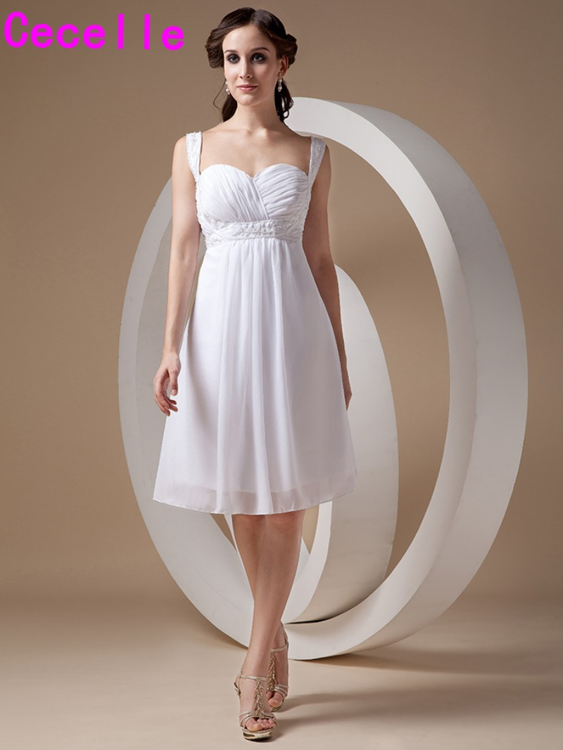Ivory Chiffon Summer Beach Informal   Bridesmaid     Dresses   With Straps Beaded pleats Knee Length Country Western Wedding   Bridesmaid