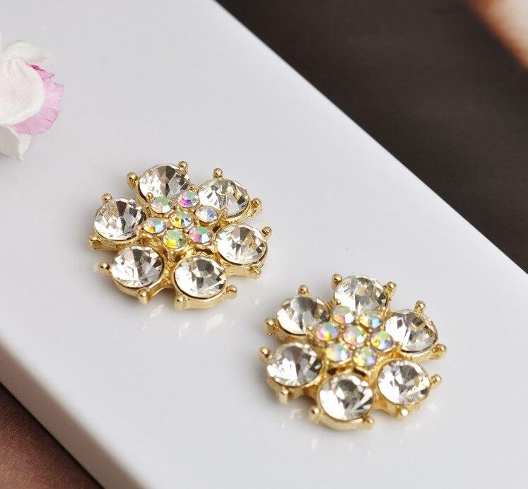 20 шт 24 мм Цветок Flatback прозрачный кристалл центральный цветные стразы кнопки золото для DIY browband аксессуары для свадебной прически - Цвет: 1