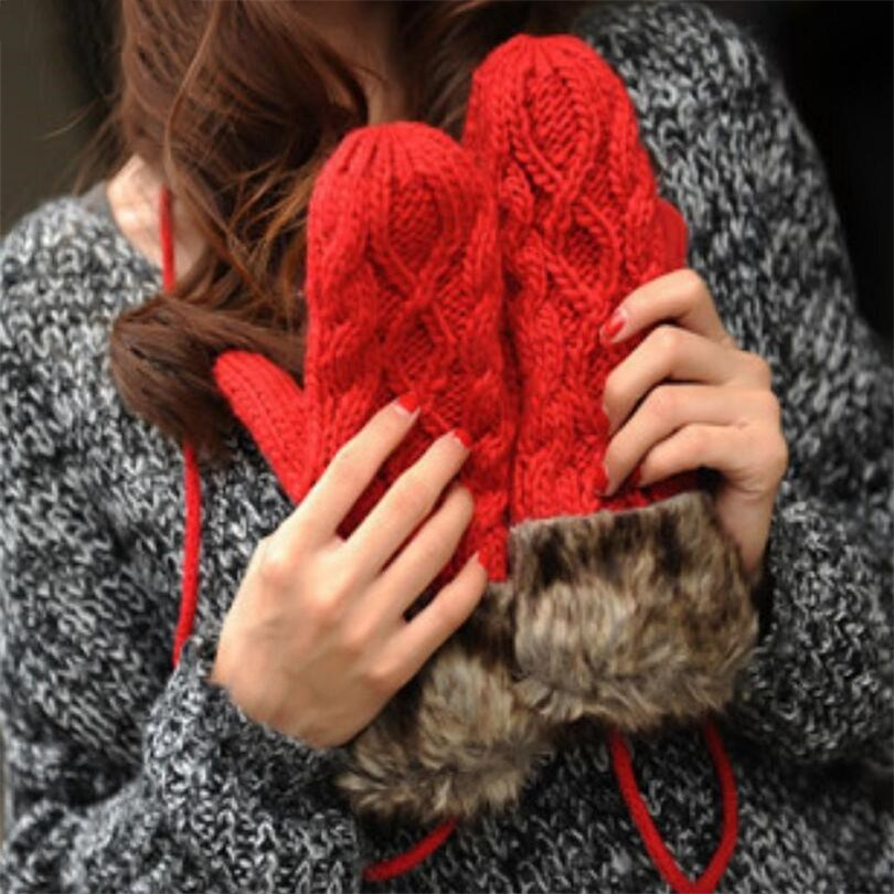 VISNXGI Women Winter Layer Thick Cashmere Wool Adult Warm Knit Twist Full Finger Gloves Soft Lady Fur Mittens With Long Rope Hot