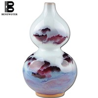 BENEWOTER Jingdezhen Ceramic Porcelain Natural Kiln Auspicious Clouds Gourd Bottle Tabletop Flower Vase Home Decor Ornament