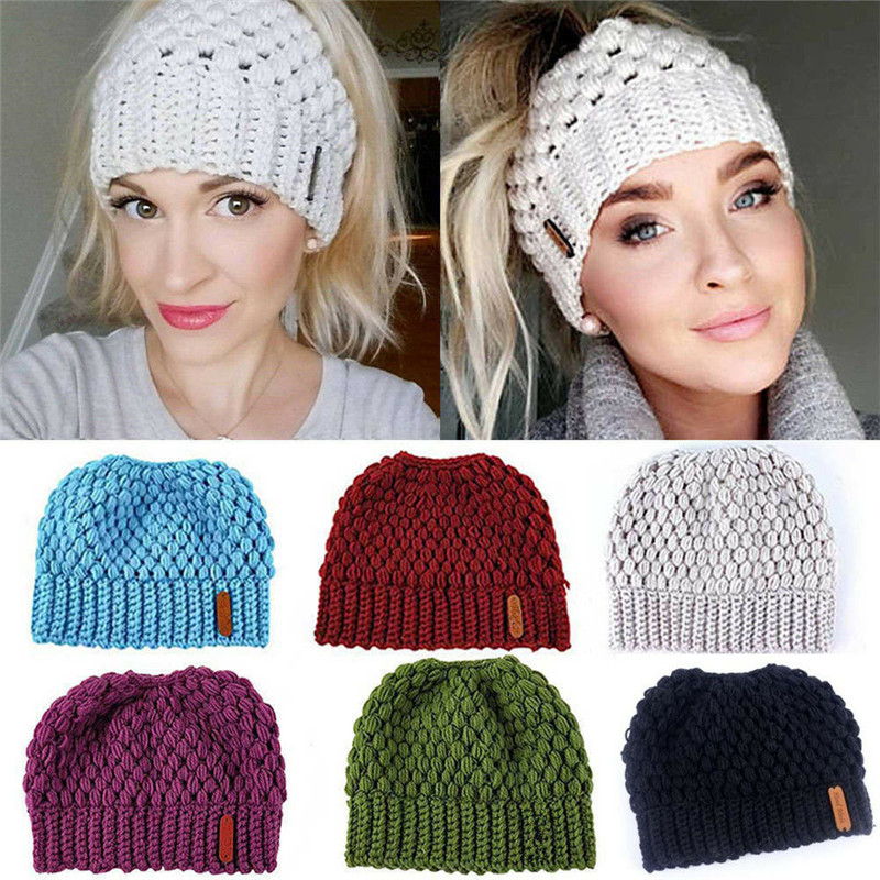 Fashion Cool Women Girls Hat Solid Color Stretch Knit Hat Messy High Bun Ponytail   Beanie   Warm Hole Cap Autumn And Winter New