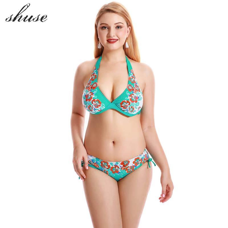 SHUSE Plus Size 8XL Sexy Bikini Swimsuit Women's Push Up Halter Top Bikini Set Swimwear Femme Large Size Biquini Bathing Suits